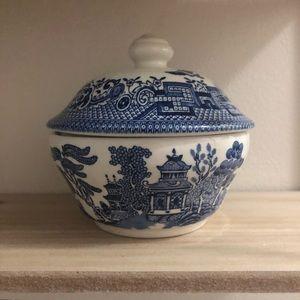 Made in England blue & white sugar bowl